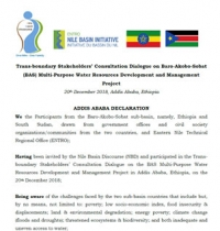 ADDIS ABABA DECLARATION; Trans-boundary Stakeholders' Dialogue on Baro-Akobo-Sobat Multi-Purpose Water Resources Development and Management
